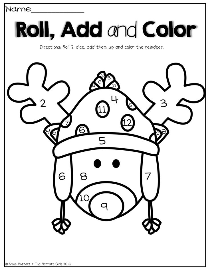 Roll 2 dice, add them up and color the reindeer! What a FUN way to practice adding!