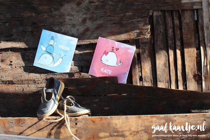 Geboortekaarten | unieke geboortekaartjes | Geboortekaart | Gaafkaartje | collectie 1 | acryl | tekening | illustratie | slakken | walvis