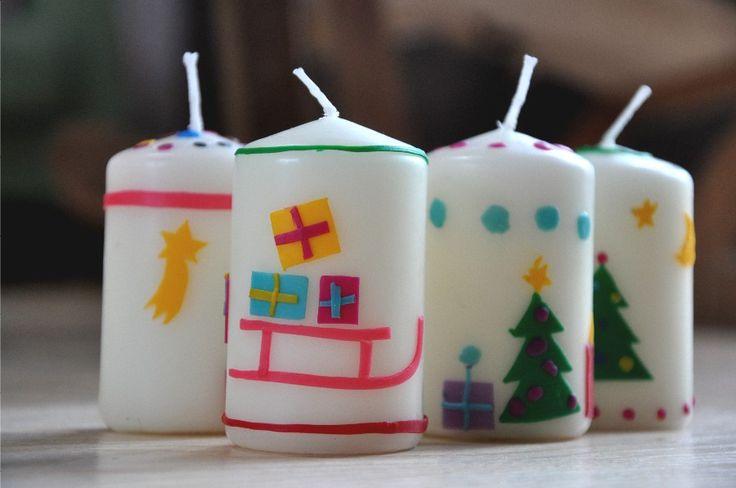 Süße Weihnachtskerzen selbst gemacht - Passende Wachsplatten auf http://www.bastelsepp.de/Kerzen-gestalten/Wachsplatten-Wachsfolien/