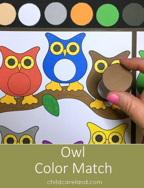 Owl color match file folder game for color recognition skills.