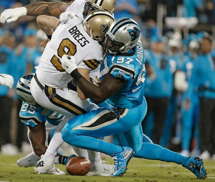 Saints Panthers Football Drew Brees, Mario Addison