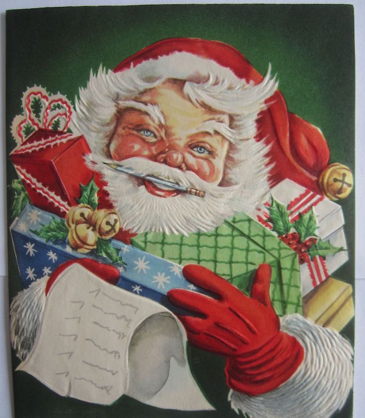 Vintage Christmas Greeting Card Cheery Santa Checking His List Mid Century