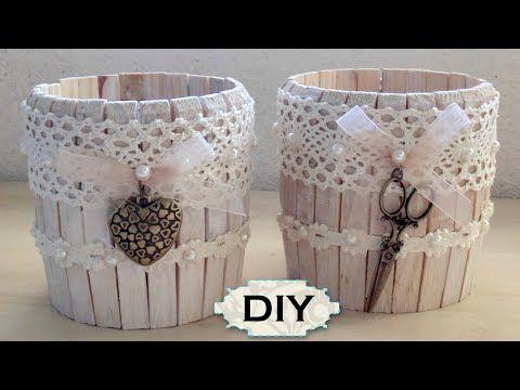 ▶ Tutorial: Barattolo in Legno Shabby Chic |Riciclo Creativo con Mollette e Barattoli| DIY Jar Wooden - YouTube
