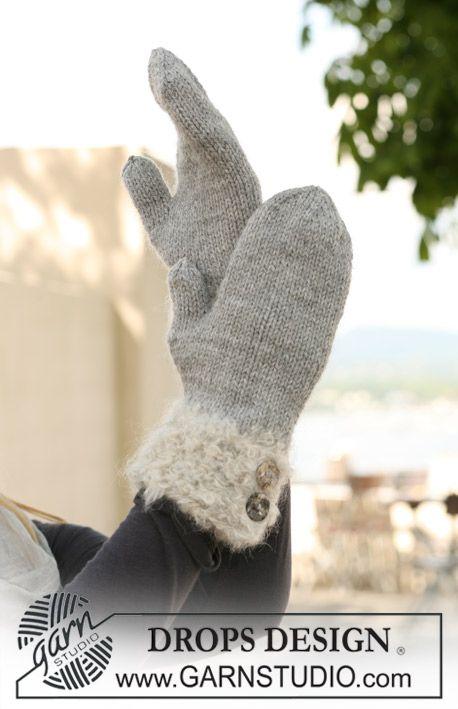 Moufles DROPS tricotées en « Alaska », avec poignets tricotés en double « Puddel ». ~ DROPS Design