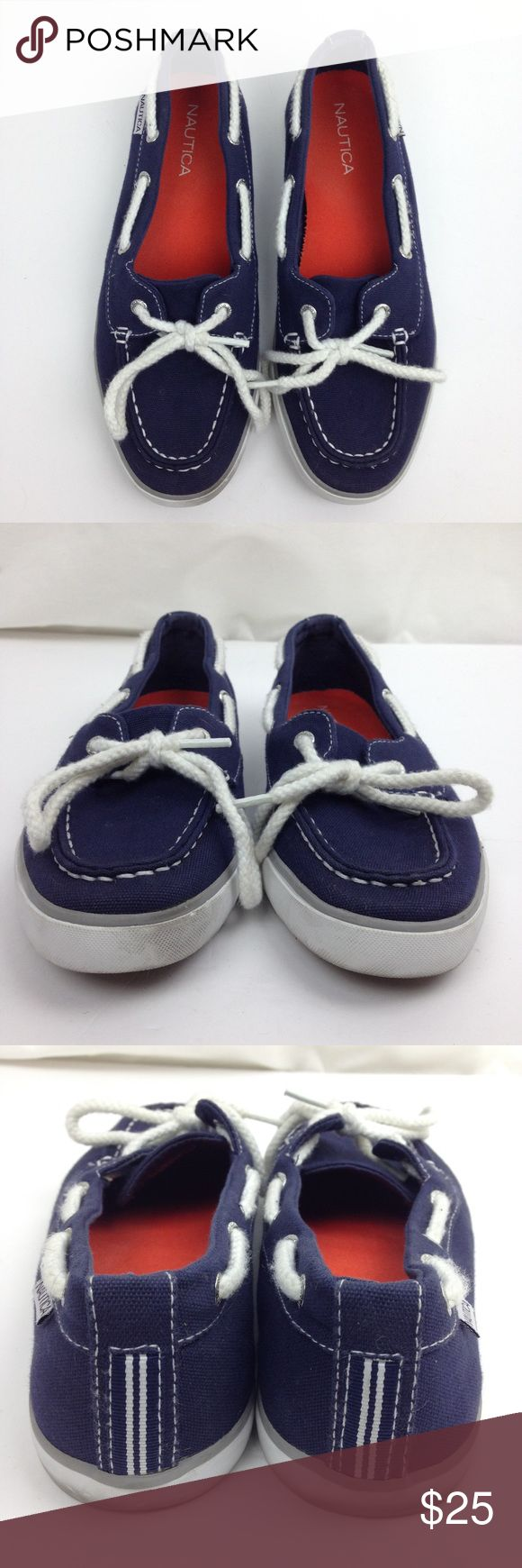 Nautica blue boat shoes size 6.5 Slip on Nautica blue boat shoes size 6.5 Slip on White laces Nautica Shoes Flats & Loafers