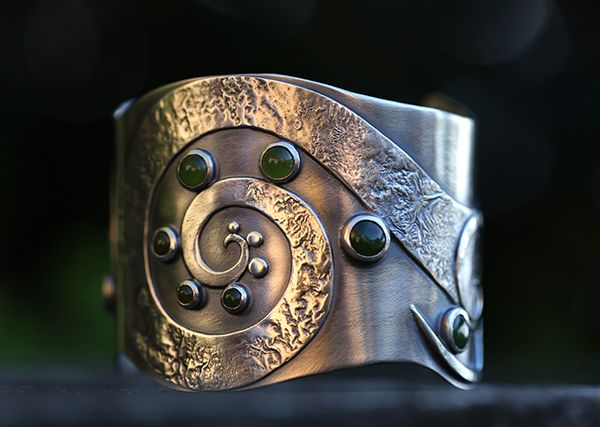 Sterling silver art bracelet by Spiral Stone