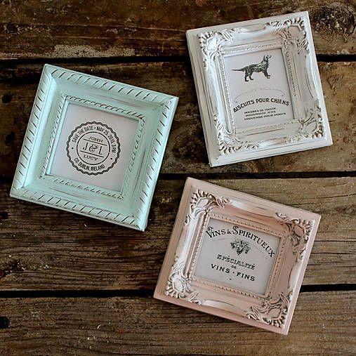 HaM / Tri pastelové vintage mini rámčeky maľované kriedovými farbami Dekor Paint Soft. Vintage frames, chalk paint Dekor Paint Soft.