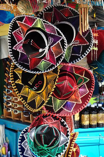 Colorful Mexican Hats (Pureta Maya at Cozumel, Mexico) by tsukikageyuu on flickr