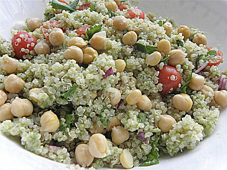 quinoa avocado salad-It's amazing! All I did differently was buy uncooked chickpeas and boiled them with garlic in the water to add some more flavor. Yum!