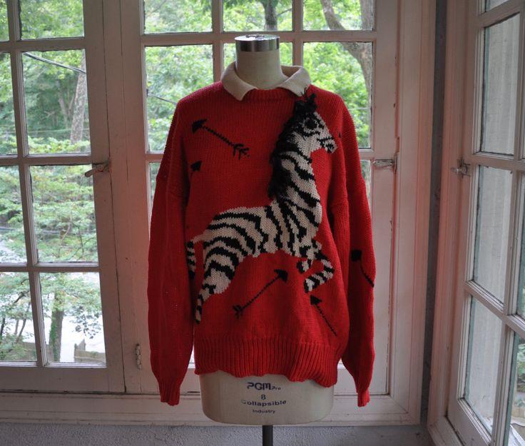 Mon petit zèbre nouveauté pull/Vintage des années 1980/coton tricot pull pull/Pronto Moda par LastDanceVintage sur Etsy https://www.etsy.com/fr/listing/481908059/mon-petit-zebre-nouveaute-pullvintage