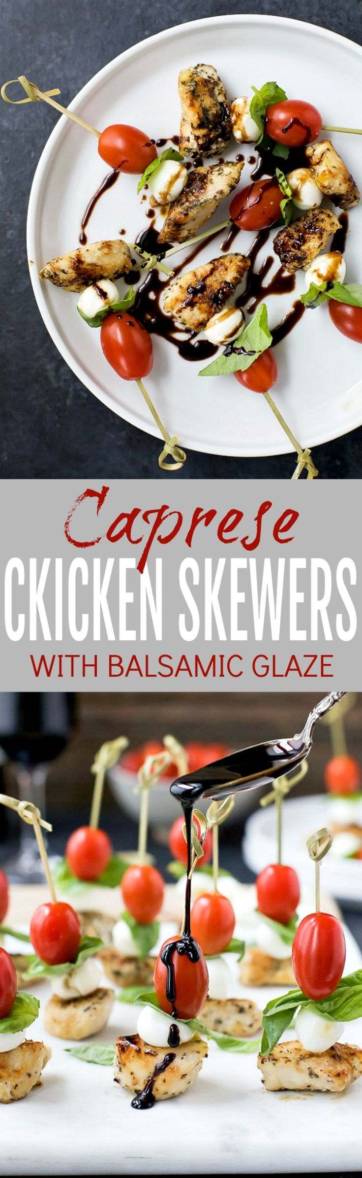Easy Caprese Chicken Skewers drizzled with a homemade Balsamic Glaze absolutely irresistible and make the ULTIMATE party appetizer! Just watch these gluten free caprese bites disappear from the appetizer table! #ad