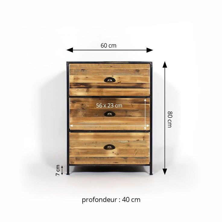 Commode bois métal 3 tiroirs