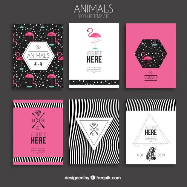 Animaux brochures Vecteur gratuit