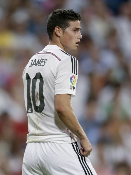 James Rodriguez of Real Madrid during the Spanisch Super Cup match between Real Madrid and Atletico Madrid at Estadio Santiago Bernabeu on august 19, 2014 in Madrid