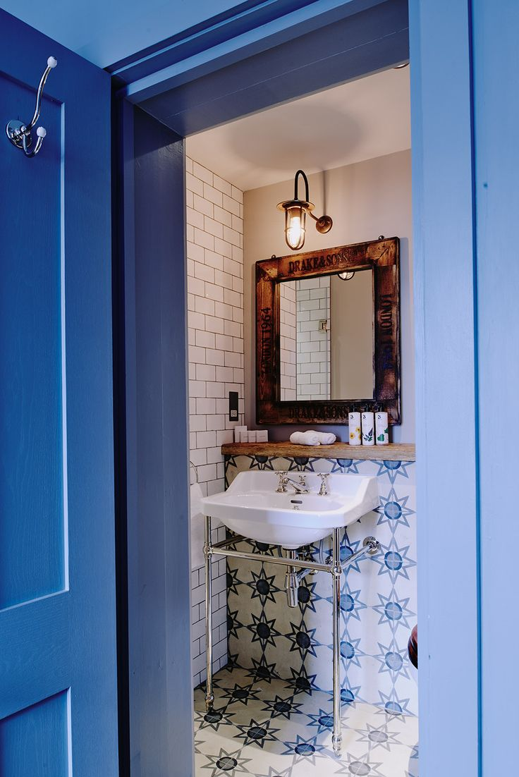Eclectic luxury. We love our Bert and May patterned bathroom tiles, fruitwood mirror and Lefroy Brooks washstand. http://artistresidencelondon.co.uk