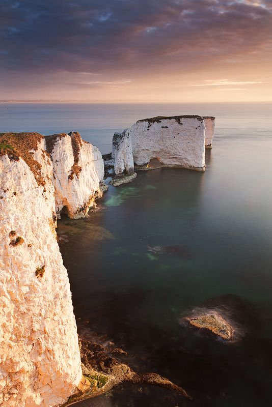Old Harry Rocks, the beginning of the Jurassic Coast World Heritage Site as well as the almost end point (or start point) of the South West Coast Path. Isle of Purbeck, Dorset, England