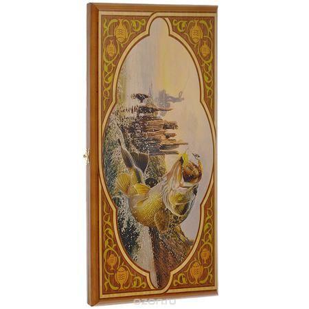 """Игровой набор 3в1 """"Рыбалка"""": нарды, шахматы, шашки. 102msh  — 1881 руб.  —  Нарды """"Рыбалка"""" упакованы в деревянный кейс, оформленный изображением рыбы, пойманной на удочку. Кейс закрывается на металлический замок. Внутренняя часть кейса представляет собой игровое поле. В наборе имеются два игральных кубика, деревянные шашки и шахматные фигуры. На внешней стороне в нижней части кейса изображено игровое поле для игры в шашки и шахматы. Цель игры состоит в том, чтобы сначала привести шашки в…"""