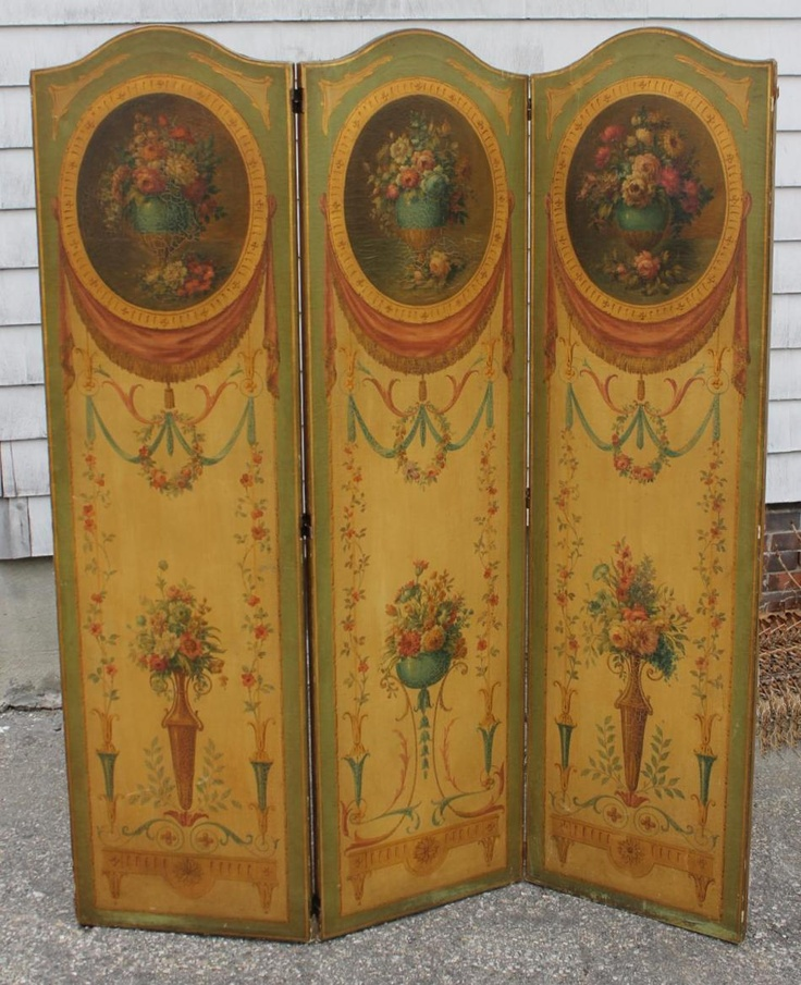 Antique French Victorian O/C Floral Oil Painting Triple Folding Screen
