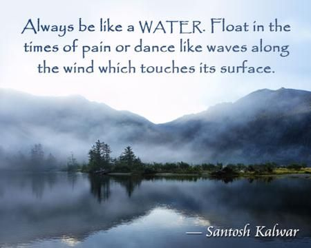 Always be like a water. Float in the times of pain or dance like waves along the wind which touches its surface. ― Santosh Kalwar
