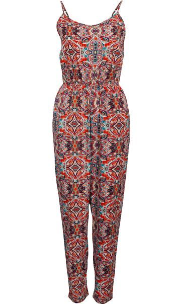 Printed Jumpsuit - Refresh your wardrobe instantly with this colourful printed jumpsuit. Designed in a lightweight fabric that is perfect for the warmer weather, adjustable straps and an elasticated waist that adds shape. An effortless outfit that will take you from day to night in style. Inside leg 74cms.