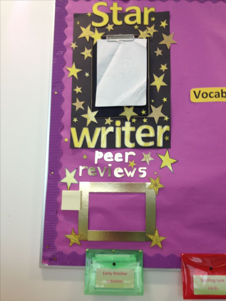 Classroom Theme Ideas Grade ~ Star writer display i attached a clipboard to backing