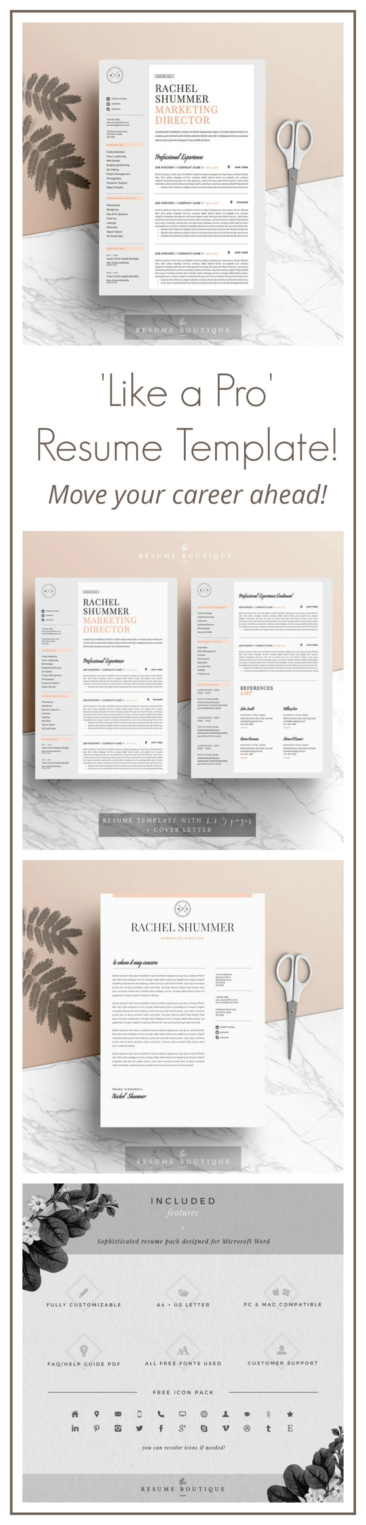 """Love this stylish and professional resume template! Perfect for nailing your next career move.  Resume Template 4 pages 
