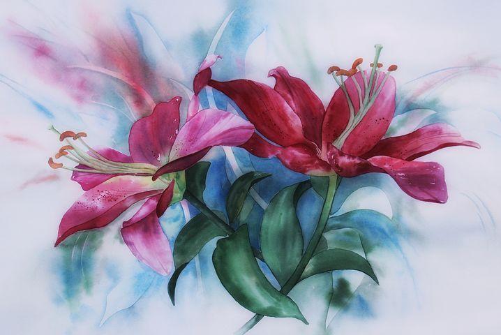 Aquarelle Lys Peinture Avec Images Aquarelle Fleurs