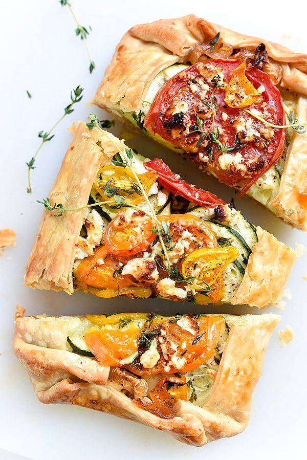 Tomato, Zucchini, Caramelized Onion and Feta Galette | foodiecrush.com