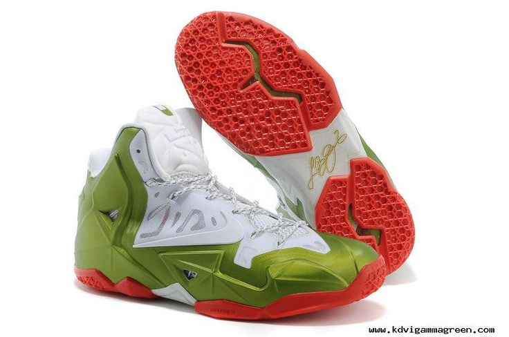 NikeID White Green Red Nike LeBron 11 For Wholesale