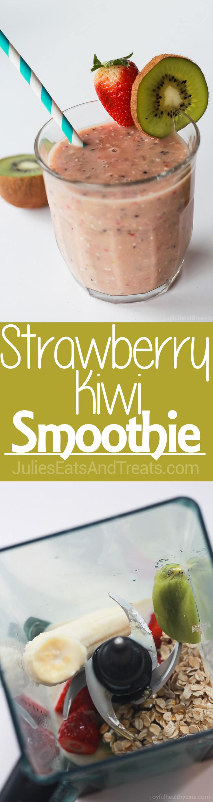A healthy nutrient packed Strawberry Kiwi Smoothie to start the new year off on the right foot! via @julieseats