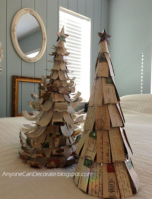 Christmas Trees I made from Antique Post Cards... visit blog for tutorial.