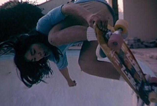 Peggy Oki getting above the pool coping - original Dogtown / Z boys rider, ca. 1970s.