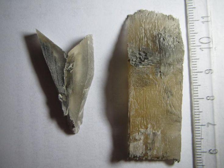Cristales de yeso Salazar (Baza, Granada, España) No faltan en las evaporitas de la zona buenos cristales individuales y agregados. Dos ejemplos: cristales en punta de flecha (izquierda) y yeso fibroso (derecha).