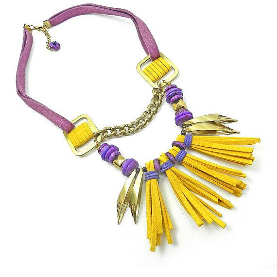 Tribal Fringe Necklace Yellow Tassel Statement by osofreejewellery