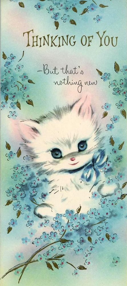 "vintage ""Thinking of You"" cat card"