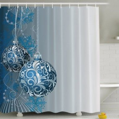 Blue Silver Holiday Christmas Ornaments Fabric Shower Curtain Digital Bathroom Your Will Become Breath Taking With This