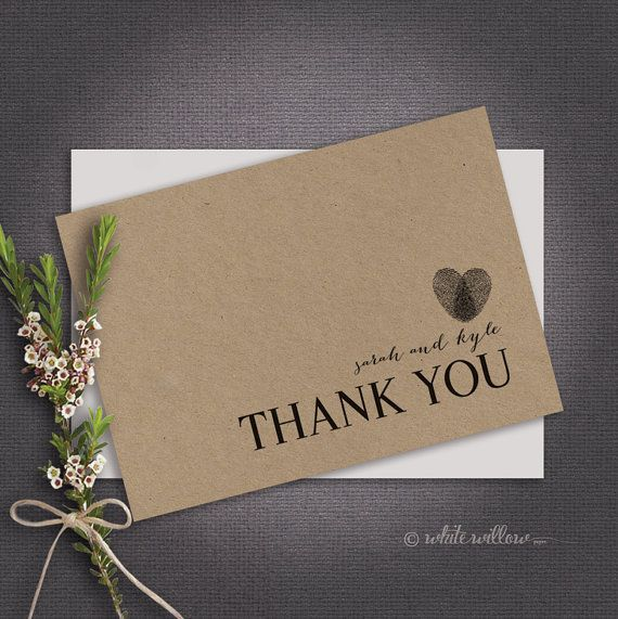 Thank You Card - Instant Download - Customised - Heart Thumbprint - Wedding thank you card/ engagement than you card