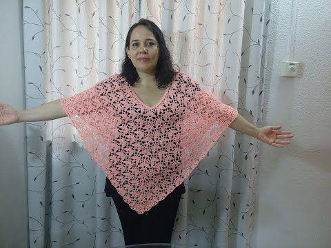 PONCHO o CAPA fácil y rápido de tejer a crochet en punto red o malla - YouTube
