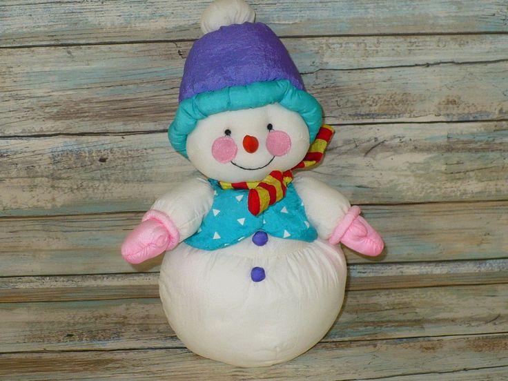 """Vintage Russ Nylon SNOWMAN Plush Stuffed Puffalump Style Animal 10"""" tall  #Russ"""