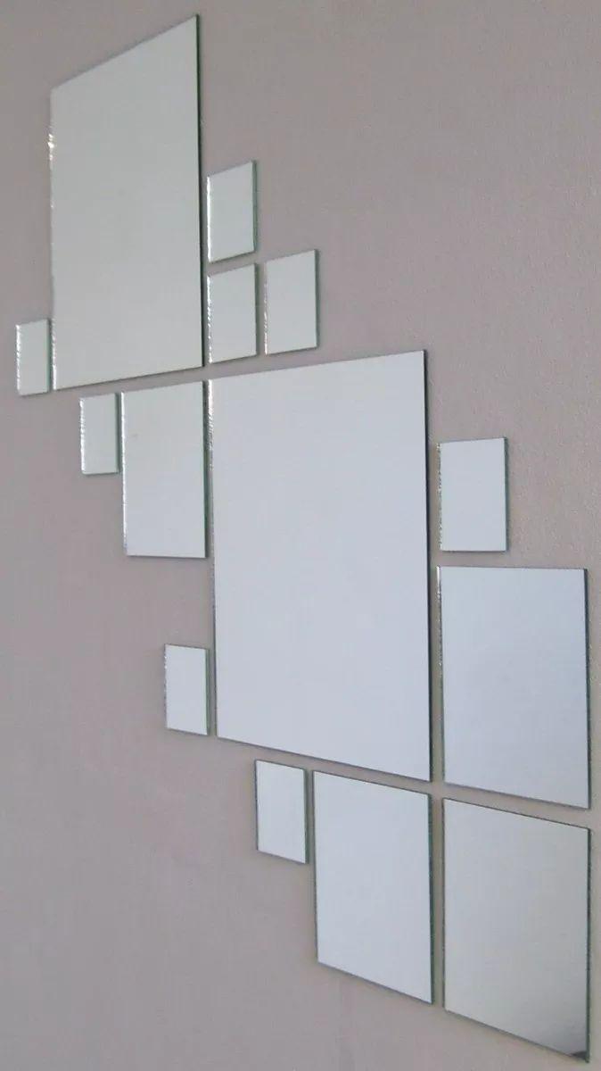 juego de 25 espejos cuadrados para decoración