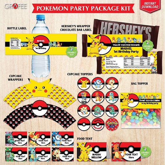 Pokemon Package Printable Kit  Pokemon Party Decoration