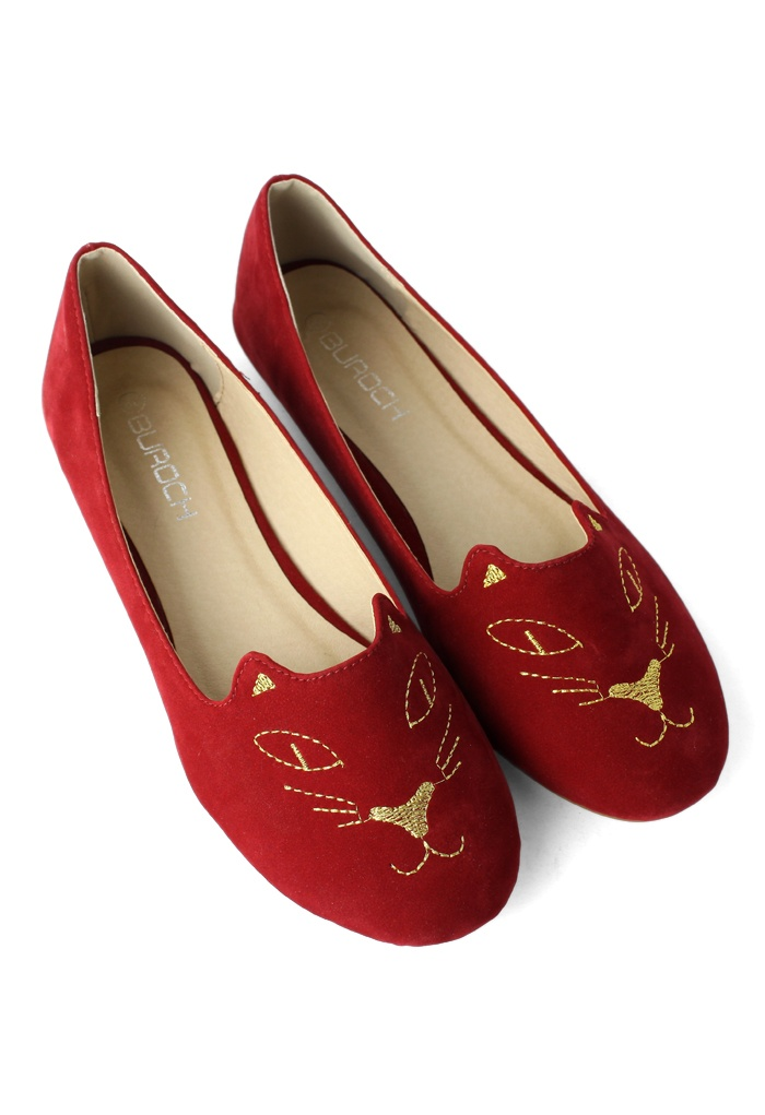 #Chicwish Cat Face Embroidery Ballet Flat Shoes in Red - New Arrivals - Retro, Indie and Unique Fashion