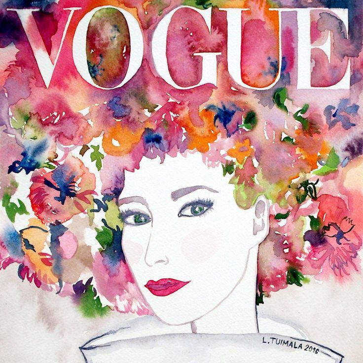 $225 USD. Original painting by L. Tuimala. http://www.liisatuimala.com #vogue #magazinecover #watercolor #art