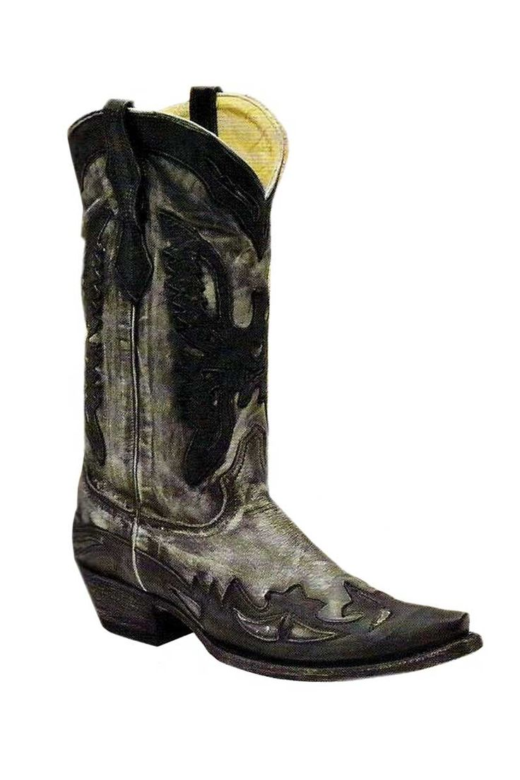 A striking boot for the fellas. Corral Boots Men's Black Eagle Wingtip Cowboy Boots