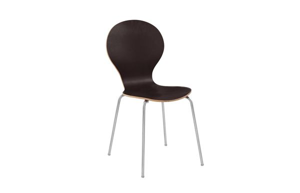 Fusion Chair - Dynamic curves adorn the body of this piece. A wood top paired with a metallic base.  Material: Wood, Metallic base  Finish / Colors: White, black, Grey, Red  Size: Width 46.5 cm ; Depth 56 cm ; Height 87 cm ; Seat Height 46 cm.