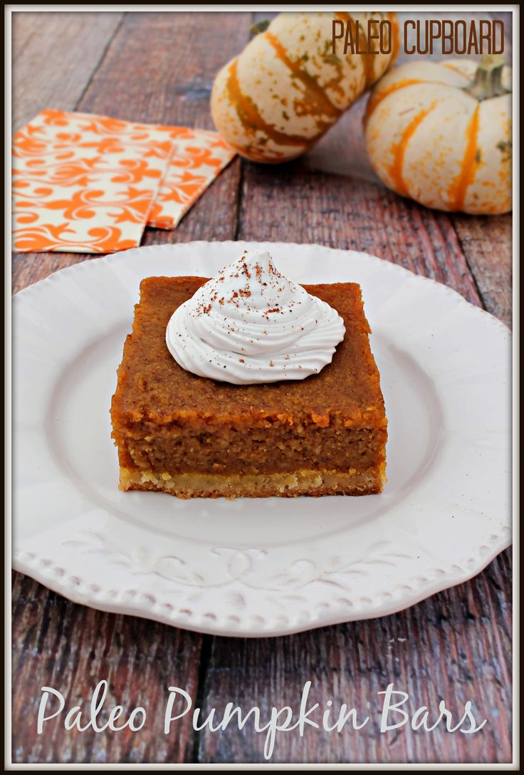 #Paleo Pumpkin Bar recipe - www.PaleoCupboard.com