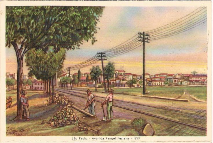 A avenida Rangel Pestana em 1919. Das imagens dos postais, essa é o único desenho que não possuo a foto original ou similar para comparação.