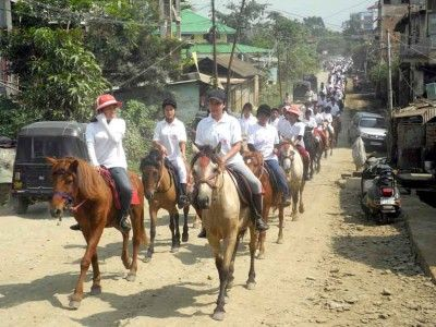 Manipuri ponies are critically endangered. Manipuri ponies, once treated as sacred horses, mounts of kings, heroes and warriors in the Indian Mythology, and appreciated as the first Polo ponies, are now abandoned, living in poor condition, like people in Manipur, and critically endangered.Polo and equestrian players taking out ponies' rally. Photo IFP