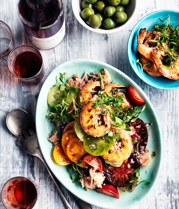 Barbecued prawn panzanella salad matched with Delamere Vineyards Rose 2012 in Gourmet Traveller-Wine.