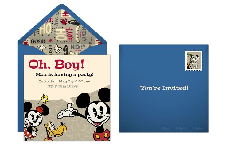Plan a classic party with a Retro Mickey Mouse online invitation!